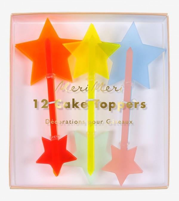 Neon Acrylic Star Toppers Set (12 Pcs) - Multi