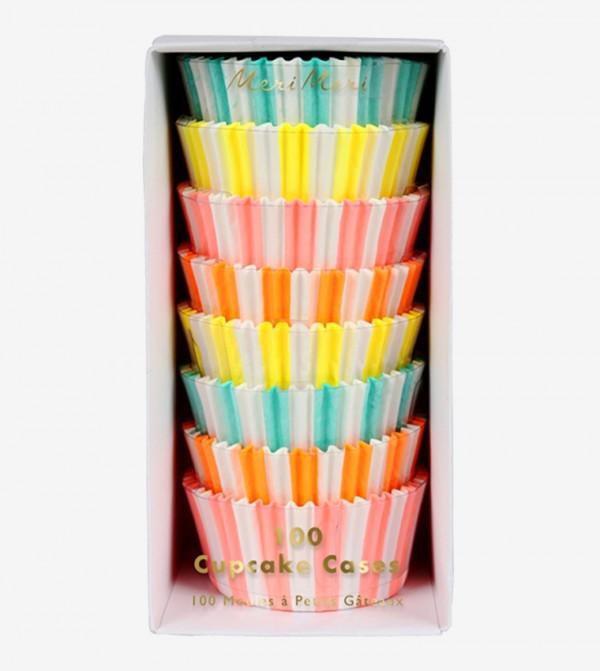 Neon Stripe Cupcake Cases Set (100 Pcs) - Multi