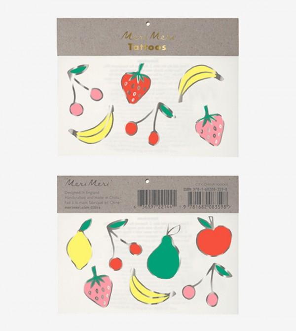 Foil Neon Fruit Tattoos Set (2 Pcs) - Multi