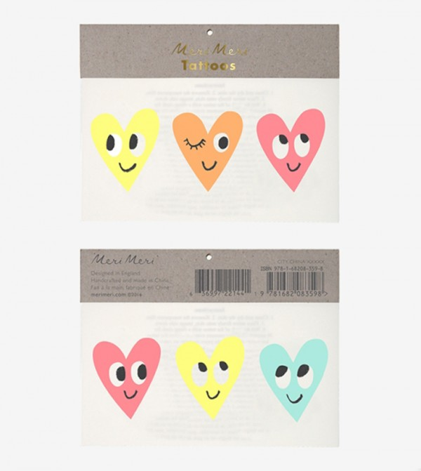Happy Heart Tattoos Set (2 Pcs) - Multi