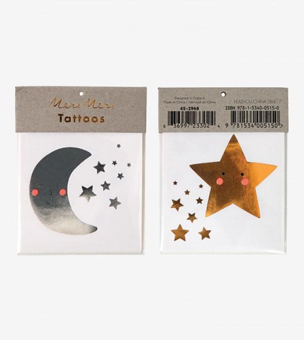 Star And Moon Tattoos Set (2 Pcs) - Multi