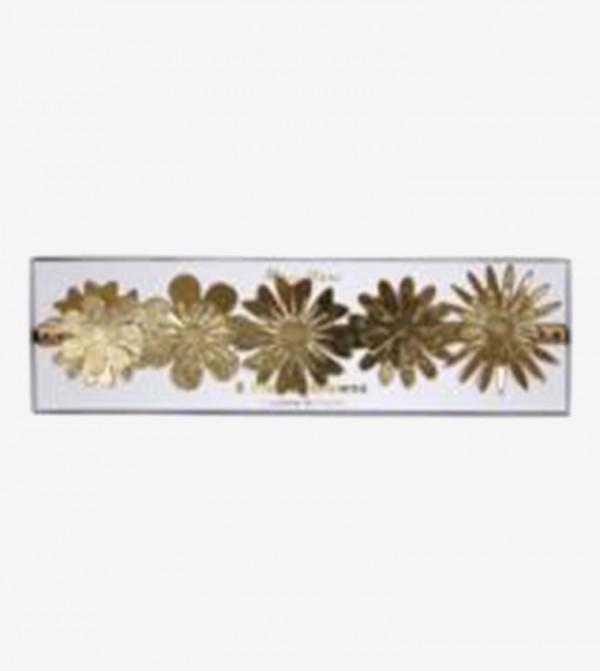 Flower Detail Party Crowns Set (8 Pcs) - Gold