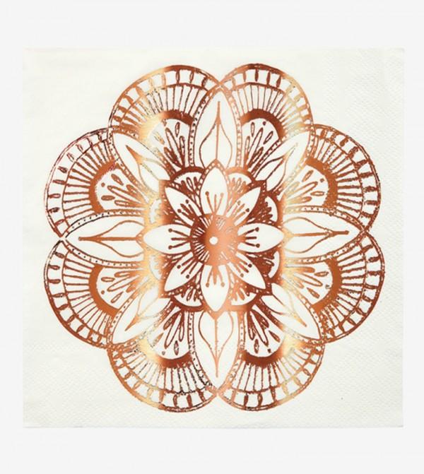 Mandala Pattern Napkins Large Set (16 Pcs) - White
