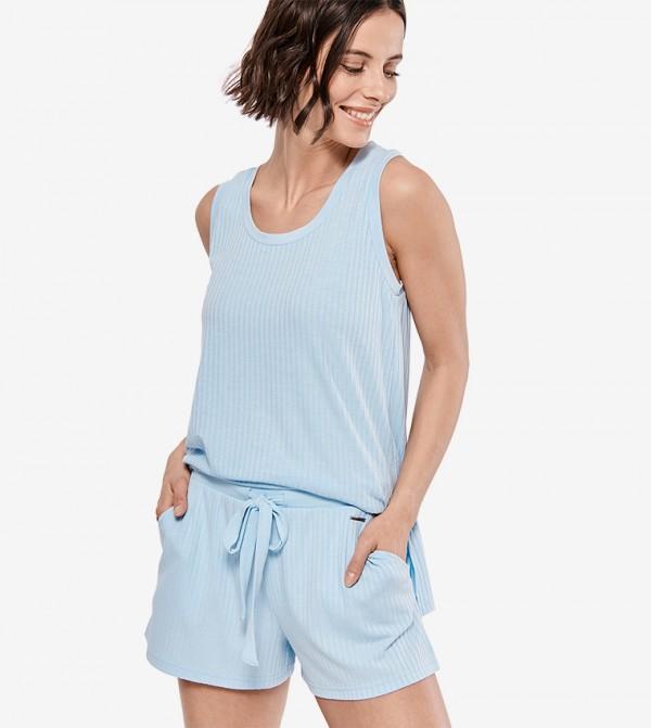 Drawstring Elasticated Waistband Stylish Shorts - Blue
