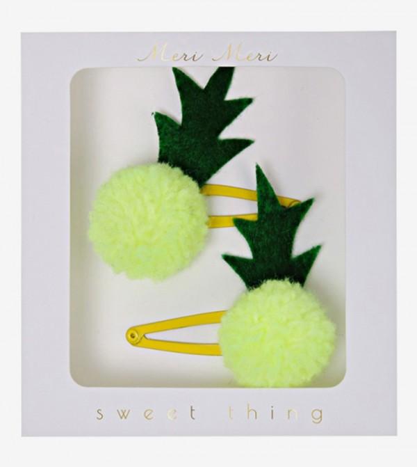 Pineapple Pom Pom Hairclips Set (2 Pcs) - Green