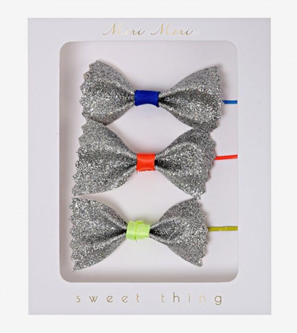 Glitter Bow Detail Hair Pins Set (3 Pcs) - Silver