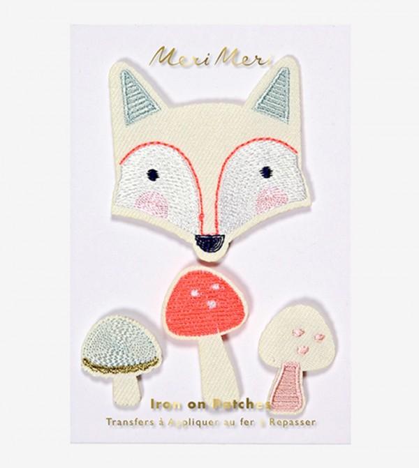 Fox Pattern Patches Set (4 Pcs) - Beige