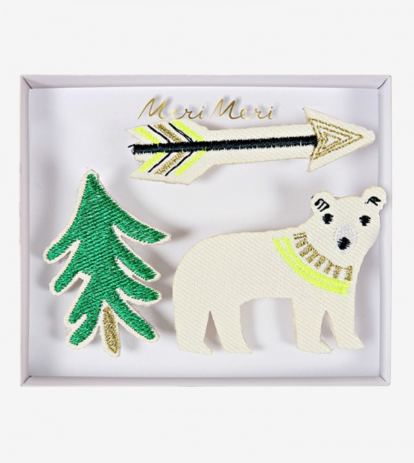 Embroidered Let'S Explore Brooches Set (3 Pcs) - Multi