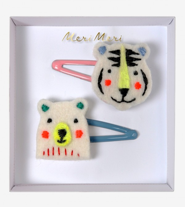 Embroidered Bear & Tiger Hair Clips Set (2 Pcs) - Off White