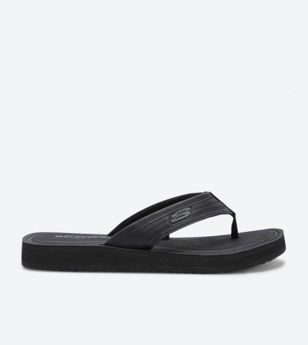 Relaxed Fit Round Toe Flip Flops - Black