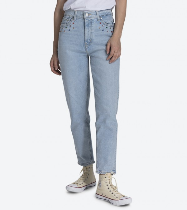 جينز بخمسة جيوب لون أزرق