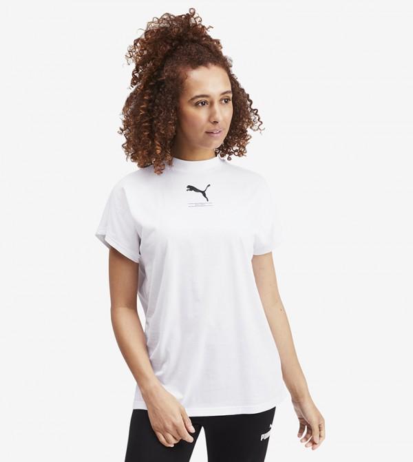 Logo Printed High-Neck Extended Sleeves T-shirt - White