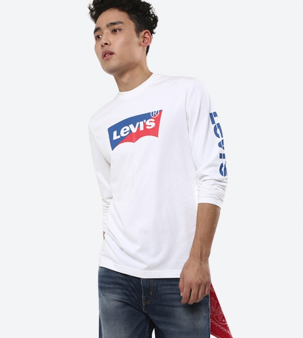 Front Graphic Long Sleeve Box Tab Details T-Shirt - White 588450006
