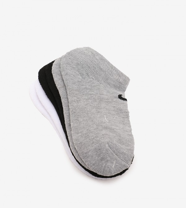 Nhn 3N 3Pk No Show Sock-White/Dark Gray Heather
