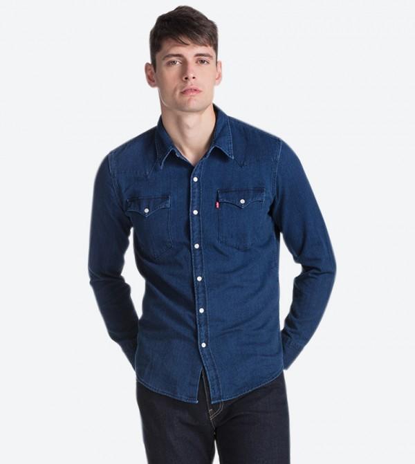 قميص جينز بأكمام طويلة لون أزرق