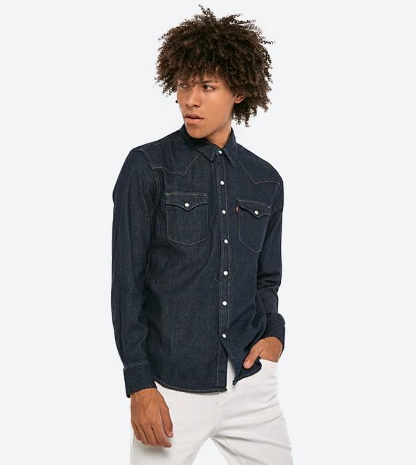 قميص جينز بأكمام طويلة لون كحلي