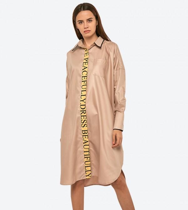 فستان سيتي غيرل بنمط قميص لون بني فاتح