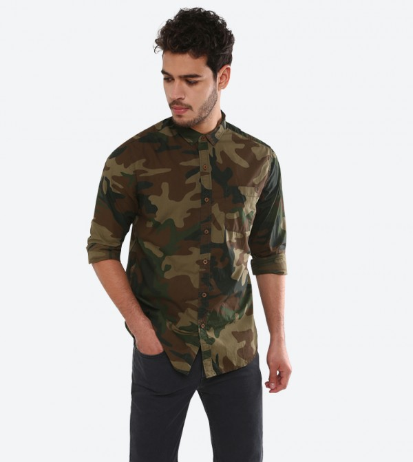 Long Sleeve Classic Collared Camo Printed Shirt - Multi 743450000