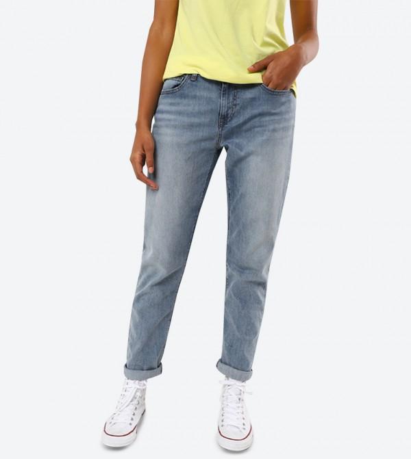 5-Pocket Button Closure Boyfriend Selvedge  Jeans - Blue 744310001