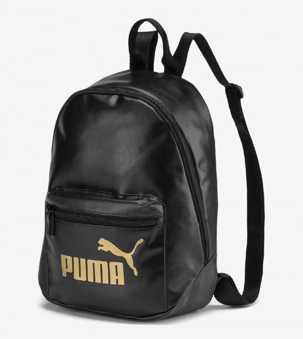 Brand Logo Printed Multiple Pockets Backpack - Black