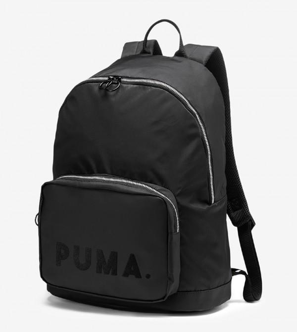 Logo Printed Multiple Pockets Backpack - Black