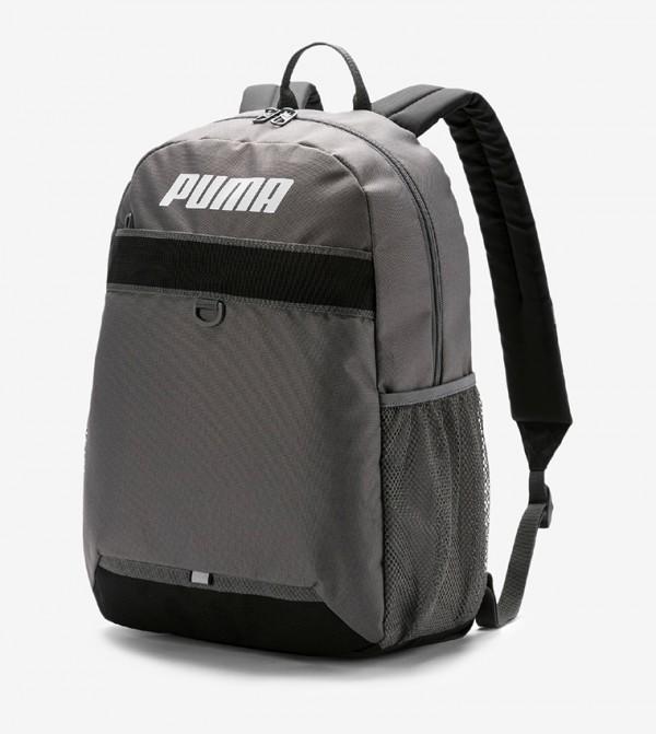 Logo Printed Multpile Pockets Backpack - Grey