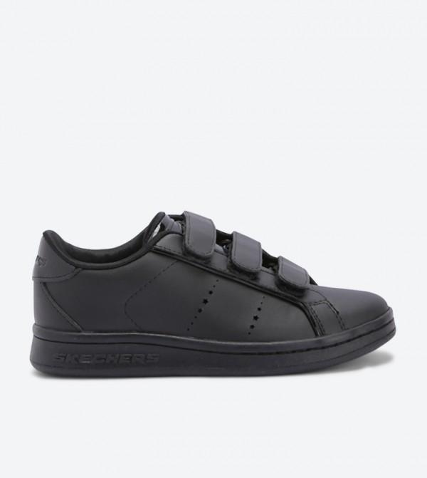 Omne Scholastic Style Round Toe Sneakers - Black
