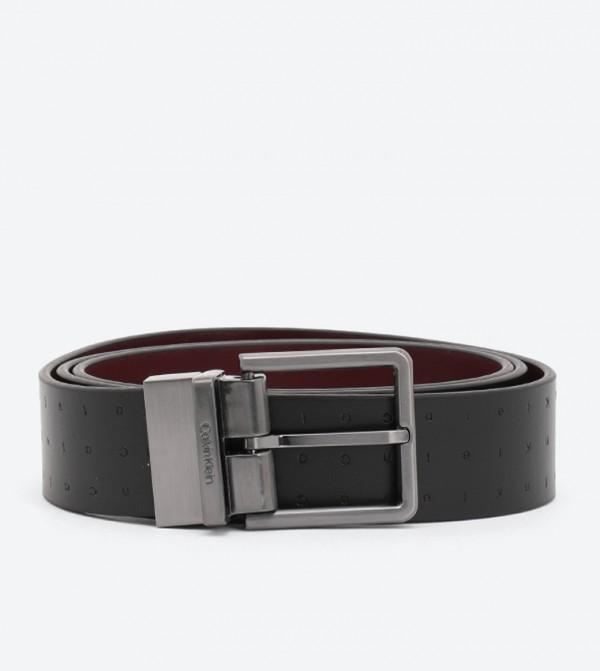3.5Cm Rev/Adj Embossed Belt - Black
