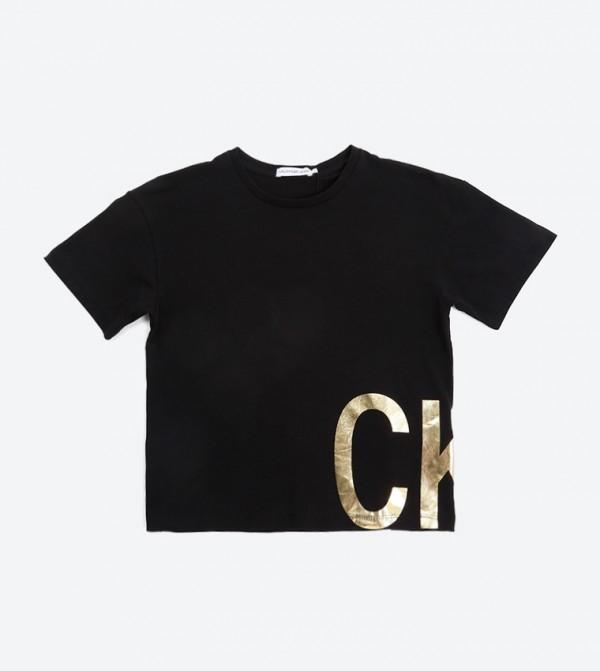 Boxy Foil Ck Ss T- Shirt - Black Beauty