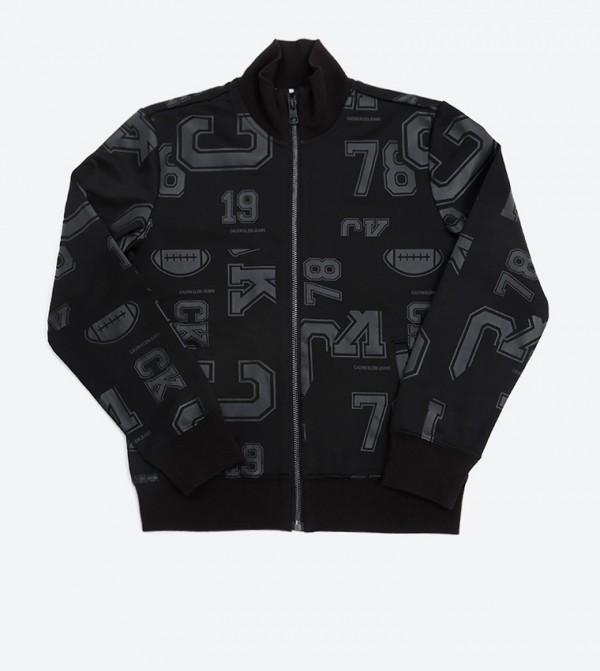 All Over Print Track Jacket - Black