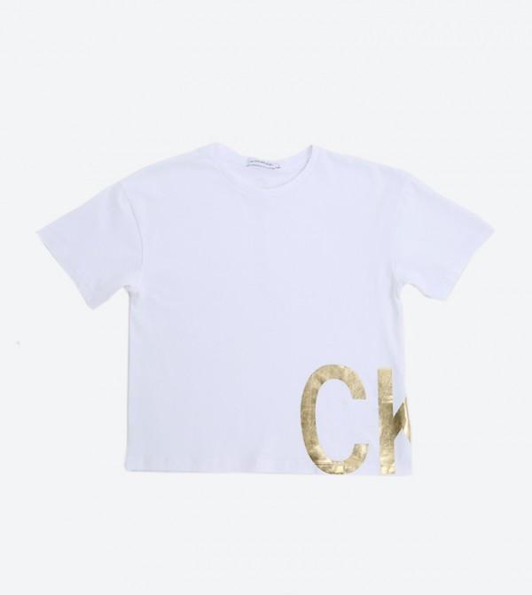 Boxy Foil Ck Ss T- Shirt - Bright White