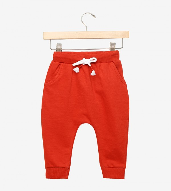 Bright Color Dyed Jogger-Red