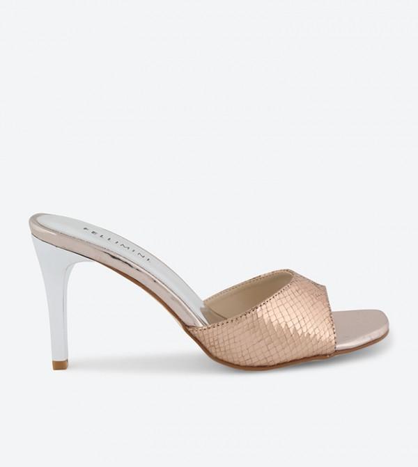 gold open toe mules