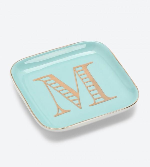 Decorative M Initial Plate - Light Blue