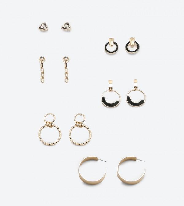 Assorted Earrings Set (6 Pcs) - Gold