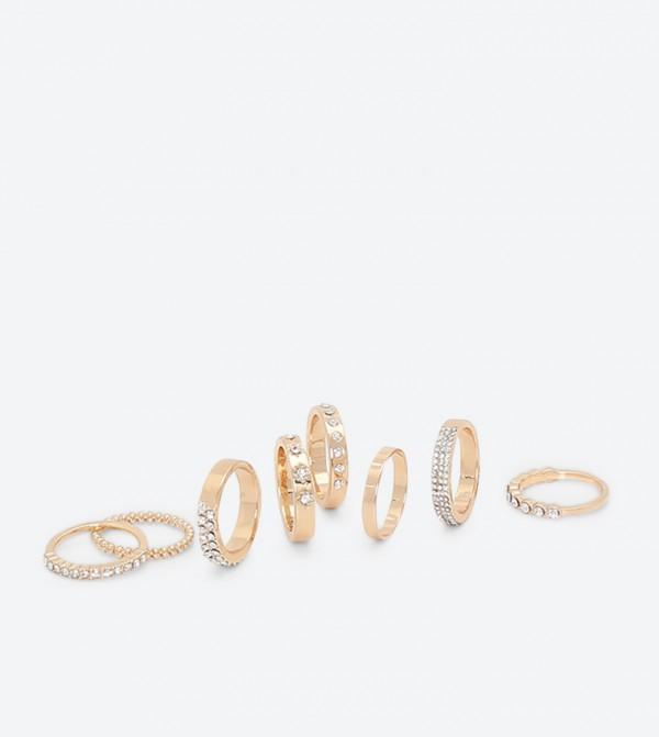 Gem Embellished Rings Set (8 Pcs) - Gold