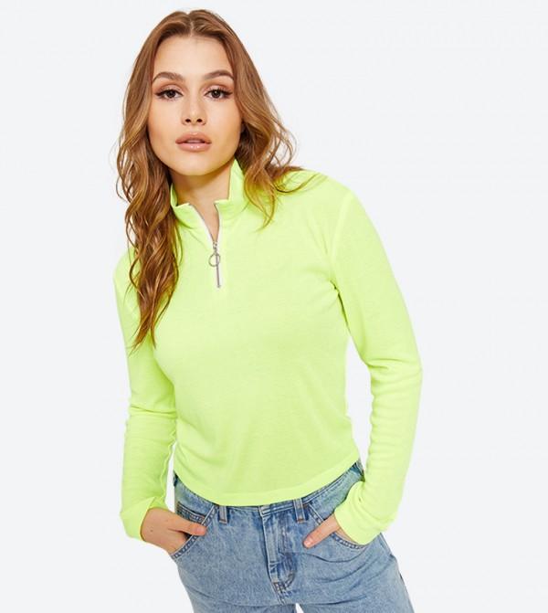 Zip High Neck Long Sleeve Top - Light Yellow
