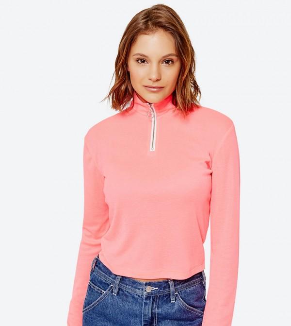 Zip High Neck Long Sleeve Top - Pink