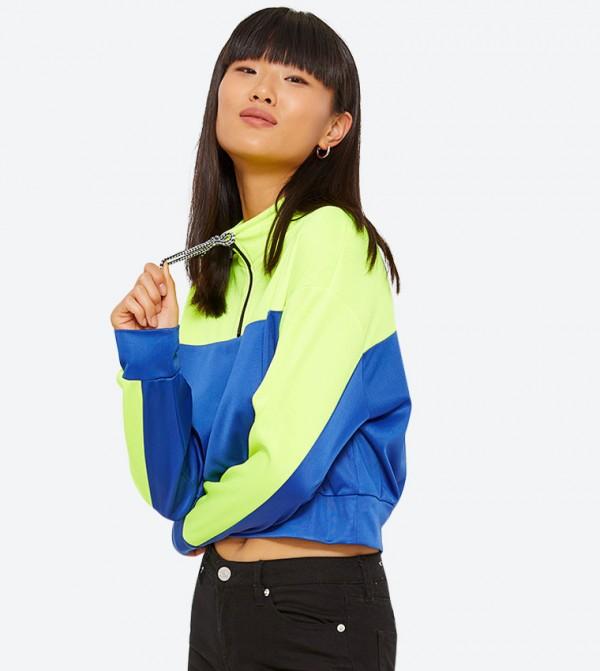 Two Tone Long Sleeve Cropped Sweatshirt - Blue
