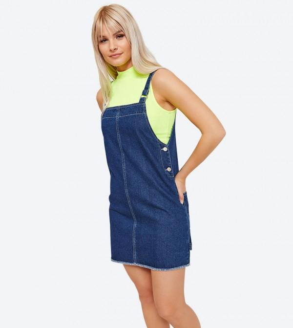2-Back Pockets Square Neck Mini Dress - Blue