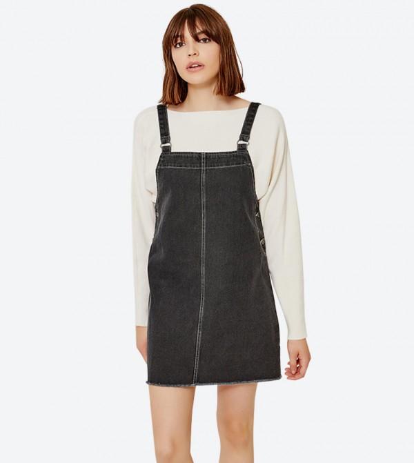 2-Back Pockets Square Neck Mini Dress - Black