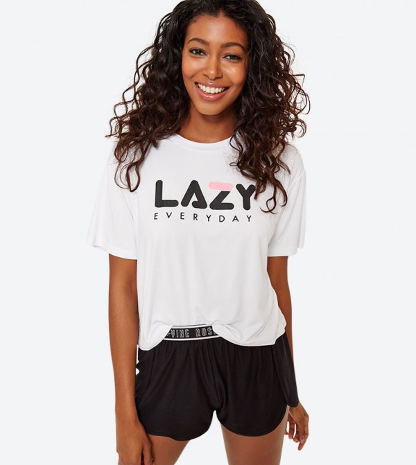 Lazy Everyday Printed Short Sleeve T-Shirt - White