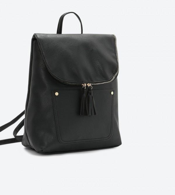 حقيبة ظهر كاجوال مع سحاب للإغلاق لون أسود