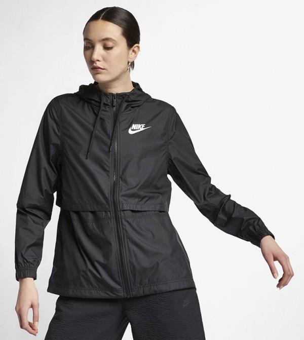 Zip Closure Sporty Jacket -Black