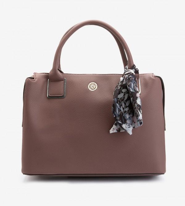 حقيبة يد مزينة بوشاح لون أرجواني
