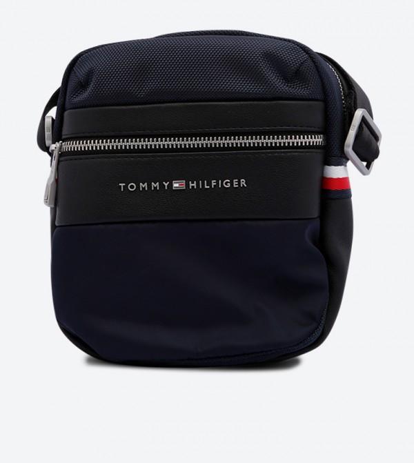 Mini Reporter Zipper Pocket Messenger Bags - Black