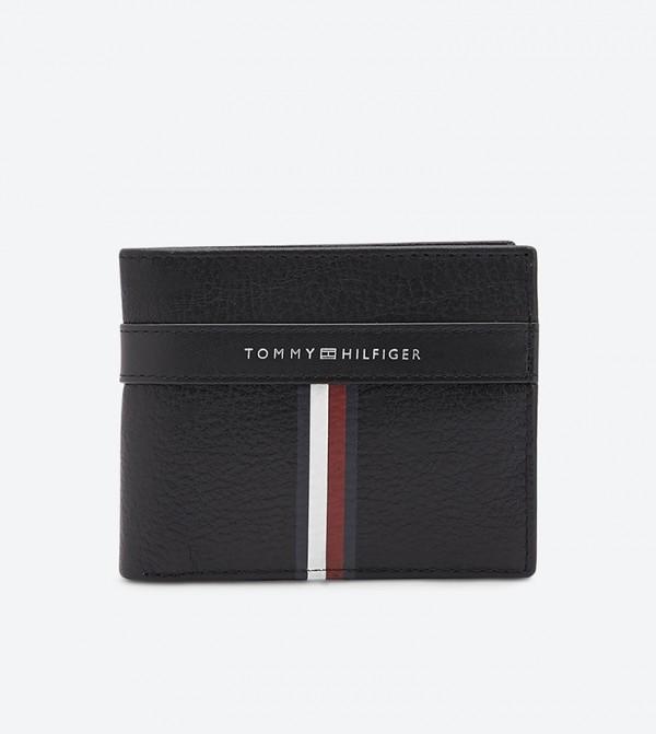محفظة ثنائية الطي مزيّنة بألوان شعار تومي لون أسود