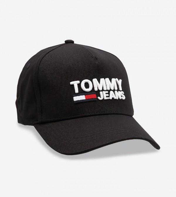قبعة مزينة بشعار تومي جينز لون أسود