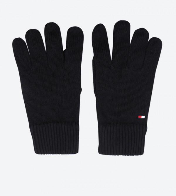 Pima Knitted Elasticated Soft Gloves - Black