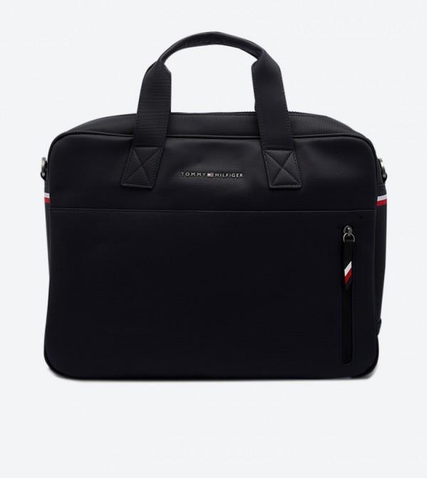 Essential Pique Double Grab Handle Computer Bags - Navy
